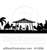 Vector Illustration of a Black and White Christmas Nativity Scene of Baby Jesus, Mary and Joseph in the Manger, with a Donkey and the Magi Wise Men by AtStockIllustration