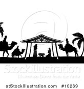 Vector Illustration of a Black and White Christmas Nativity Scene of Baby Jesus, Mary and Joseph in the Manger, with the Magi Wise Men by AtStockIllustration