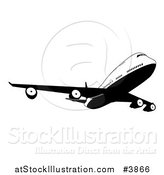 Vector Illustration of a Black and White Commercial Jet Airliner by AtStockIllustration