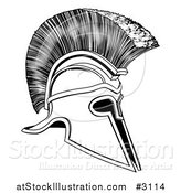 Vector Illustration of a Black and White Corinthian Trojan Spartan Romangreek Helmet by AtStockIllustration
