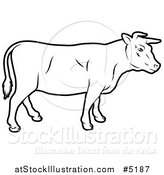 Vector Illustration of a Black and White Cow in Profile by AtStockIllustration