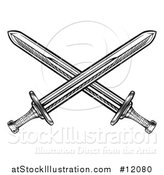 Vector Illustration of a Black and White Crossed Medieval Swords by AtStockIllustration