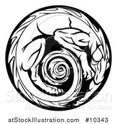 Vector Illustration of a Black and White Curled up Dragon Medallion by AtStockIllustration