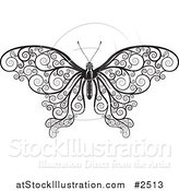 Vector Illustration of a Black and White Decorative Swirl Butterfly by AtStockIllustration