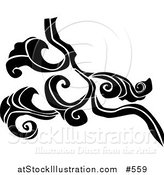 Vector Illustration of a Black and White Design Element by AtStockIllustration