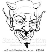 Vector Illustration of a Black and White Devil Face by AtStockIllustration