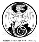 Vector Illustration of a Black and White Dragon in a Circle by AtStockIllustration