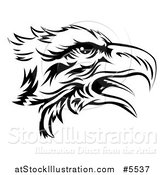 Vector Illustration of a Black and White Eagle Head in Profile by AtStockIllustration
