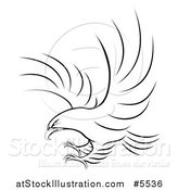 Vector Illustration of a Black and White Eagle Ready to Grab Prey by AtStockIllustration