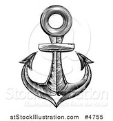 Vector Illustration of a Black and White Engraved Anchor by AtStockIllustration