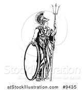 Vector Illustration of a Black and White Engraved Athena Britannia with a Trident and Shield by AtStockIllustration