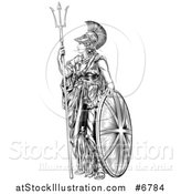 Vector Illustration of a Black and White Engraved Britannia with a Trident and Shield by AtStockIllustration