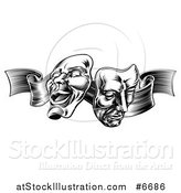 Vector Illustration of a Black and White Engraved Comedy and Tragedy Theater Masks on a Ribbon by AtStockIllustration