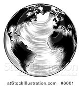 Vector Illustration of a Black and White Engraved Earth by AtStockIllustration