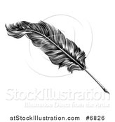 Vector Illustration of a Black and White Engraved Feather Quill Pen by AtStockIllustration