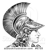 Vector Illustration of a Black and White Engraved Greek Warrior Woman Athena, Hera, or Britannia in Profile by AtStockIllustration