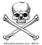 Vector Illustration of a Black and White Engraved Jolly Roger Skull and Crossbones by AtStockIllustration