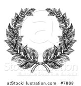 Vector Illustration of a Black and White Engraved Laurel Wreath by AtStockIllustration