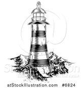 Vector Illustration of a Black and White Engraved Lighthouse at Sea by AtStockIllustration