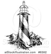 Vector Illustration of a Black and White Engraved Lithograph Lighthouse and Waves by AtStockIllustration