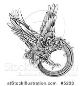 Vector Illustration of a Black and White Engraved Majestic Phoenix Bird Flying by AtStockIllustration