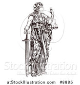 Vector Illustration of a Black and White Engraved or Woodcut Blindfolded Lady Justice Holding Scales and a Sword by AtStockIllustration