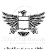 Vector Illustration of a Black and White Engraved or Woodcut Heraldic Coat of Arms American Bald Eagle with a Shield and Blank Banner by AtStockIllustration