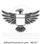 Vector Illustration of a Black and White Engraved or Woodcut Heraldic Coat of Arms American Bald Eagle with a Shield by AtStockIllustration