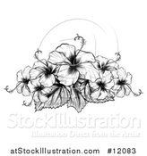 Vector Illustration of a Black and White Engraved or Woodcut Hibiscus Flower Design by AtStockIllustration