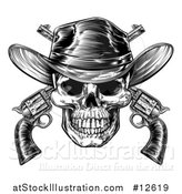 Vector Illustration of a Black and White Engraved or Woodcut Styled Cowboy Skull and Crossed Pistols by AtStockIllustration