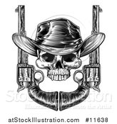 Vector Illustration of a Black and White Engraved or Woodcut Styled Cowboy Skull and Pistols by AtStockIllustration