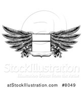 Vector Illustration of a Black and White Engraved or Woodcut Winged Shield Insignia with a Banner Scroll by AtStockIllustration