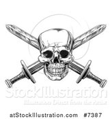 Vector Illustration of a Black and White Engraved Pirate Skull and Cross Swords by AtStockIllustration
