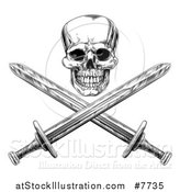 Vector Illustration of a Black and White Engraved Pirate Skull over Cross Swords by AtStockIllustration