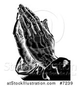 Vector Illustration of a Black and White Engraved Prayer Hands by AtStockIllustration