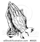 Vector Illustration of a Black and White Engraved Praying Hands by AtStockIllustration
