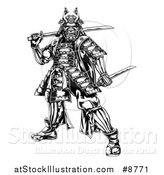 Vector Illustration of a Black and White Engraved Samurai Warrior Holding Swords by AtStockIllustration