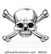 Vector Illustration of a Black and White Engraved Skull and Crossbones by AtStockIllustration