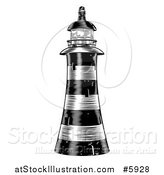 Vector Illustration of a Black and White Engraved Striped Lighthouse by AtStockIllustration