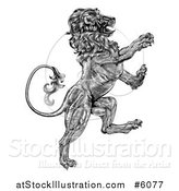 Vector Illustration of a Black and White Engraved Vintage Rampant Lion by AtStockIllustration