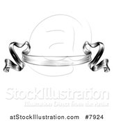 Vector Illustration of a Black and White Engraved Woodcut Vingage Ribbon Banner by AtStockIllustration