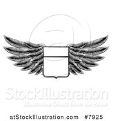Vector Illustration of a Black and White Engraved Woodcut Winged Shield Insignia by AtStockIllustration
