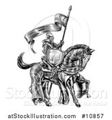 Vector Illustration of a Black and White Etched Engraved or Woodcut Fully Armored Medieval Knight on a Horse, Holding a Spear Flag by AtStockIllustration