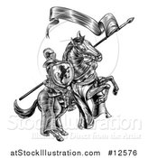 Vector Illustration of a Black and White Etched or Woodcut Medieval Knight on a Horse, Holding a Flag and Shield by AtStockIllustration