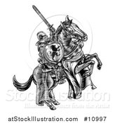 Vector Illustration of a Black and White Etched or Woodcut Medieval Knight on a Horse, Holding a Sword and Shield by AtStockIllustration
