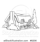 Vector Illustration of a Black and White Farm Cottage with Shrubs and a Tree by AtStockIllustration