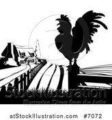Vector Illustration of a Black and White Farm House, Silhouetted Crowing Rooster and Fields by AtStockIllustration