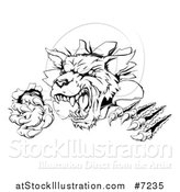 Vector Illustration of a Black and White Ferocious Wolf Slashing and Breaking Through a Wall 2 by AtStockIllustration