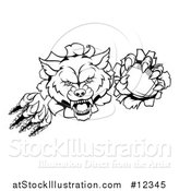 Vector Illustration of a Black and White Ferocious Wolf Slashing Through a Wall with a Football by AtStockIllustration