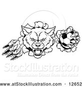 Vector Illustration of a Black and White Ferocious Wolf Slashing Through a Wall with a Soccer Ball by AtStockIllustration
